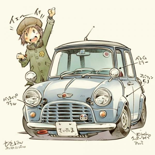 Забавные рисунки автомобилей от японского художника