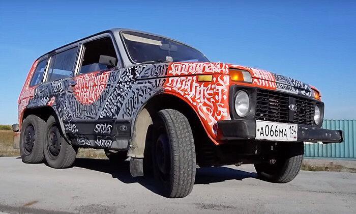 Чем не Гелик - тюнингованная Lada 4x4 на шести колёсах